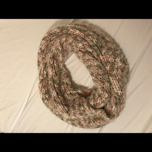 Brown, Pink, and White Infinity Scarf